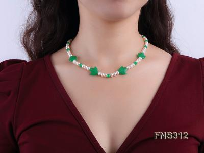 6mm natural white freshwater pearl with natural jade single strand necklace FNS312 Image 5