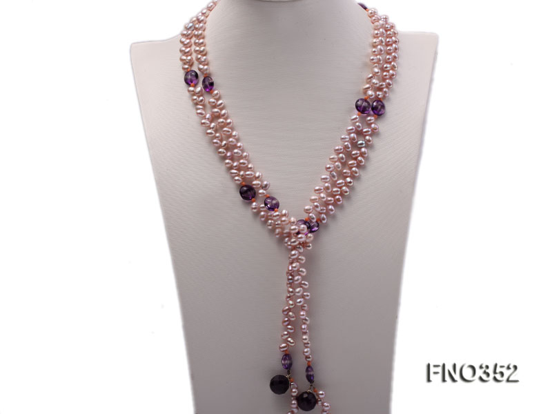 6x7mm purple rice shape freshwater pearl and amethyst necklace big Image 1