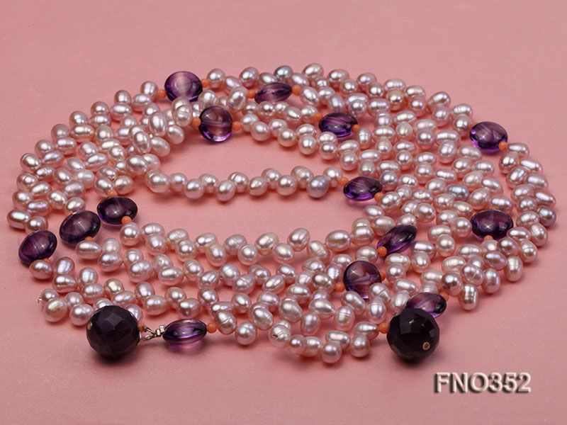 6x7mm purple rice shape freshwater pearl and amethyst necklace big Image 3