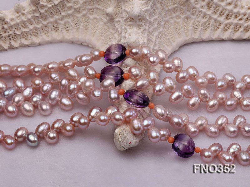 6x7mm purple rice shape freshwater pearl and amethyst necklace big Image 4
