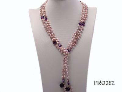 6x7mm purple rice shape freshwater pearl and amethyst necklace FNO352 Image 1