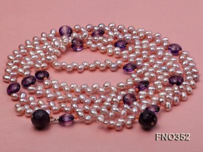 6x7mm purple rice shape freshwater pearl and amethyst necklace FNO352 Image 3