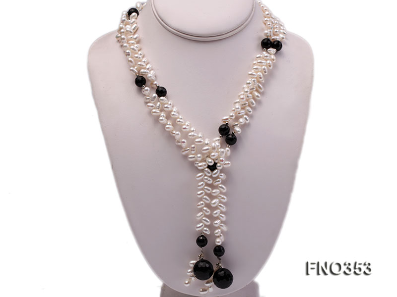 6x10mm white rice shape pearl and faceted black round faceted agate necklace big Image 1