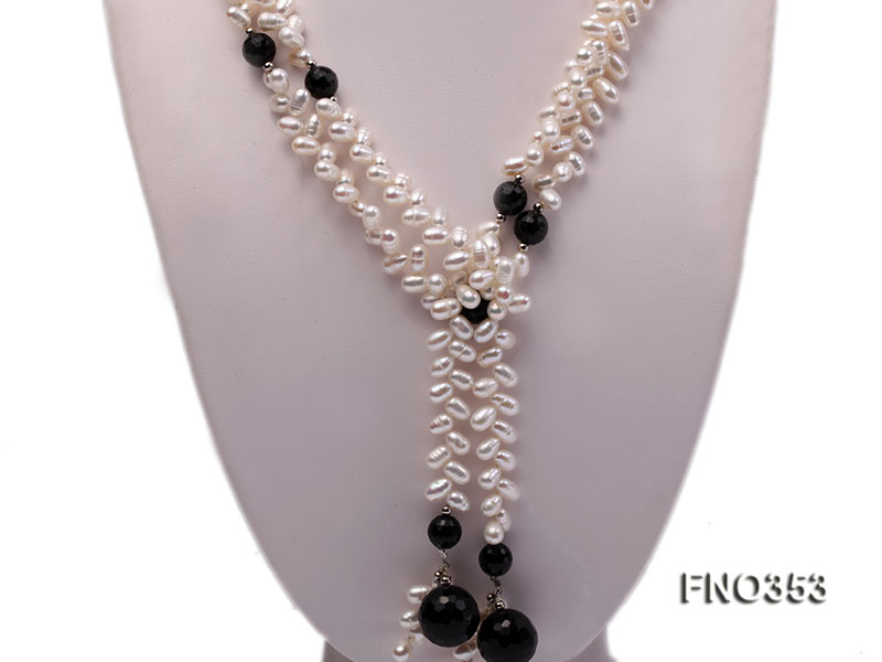 6x10mm white rice shape pearl and faceted black round faceted agate necklace big Image 2