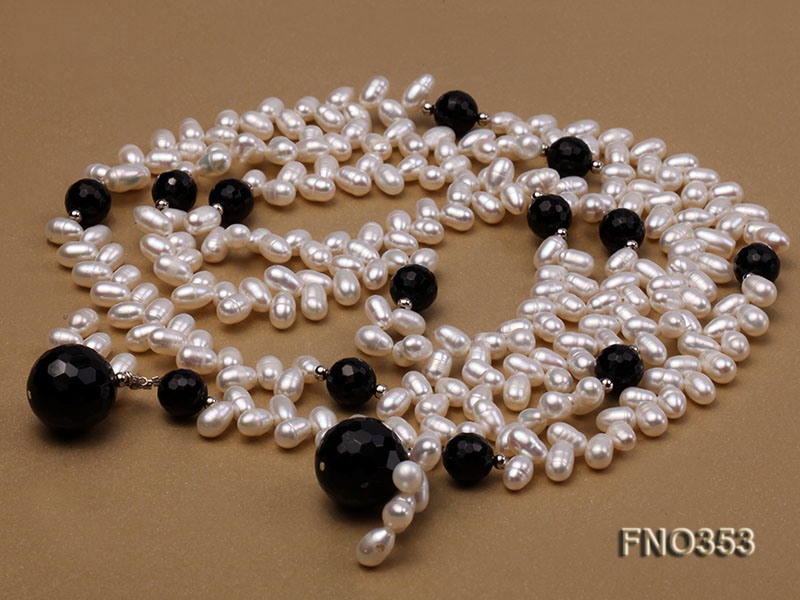 6x10mm white rice shape pearl and faceted black round faceted agate necklace big Image 3