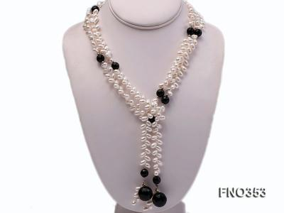 6x10mm white rice shape pearl and faceted black round faceted agate necklace FNO353 Image 1