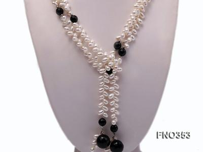 6x10mm white rice shape pearl and faceted black round faceted agate necklace FNO353 Image 2
