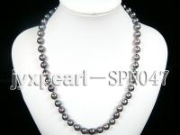 8-9mm black round seawater pearl necklace with gold clasp SPN047