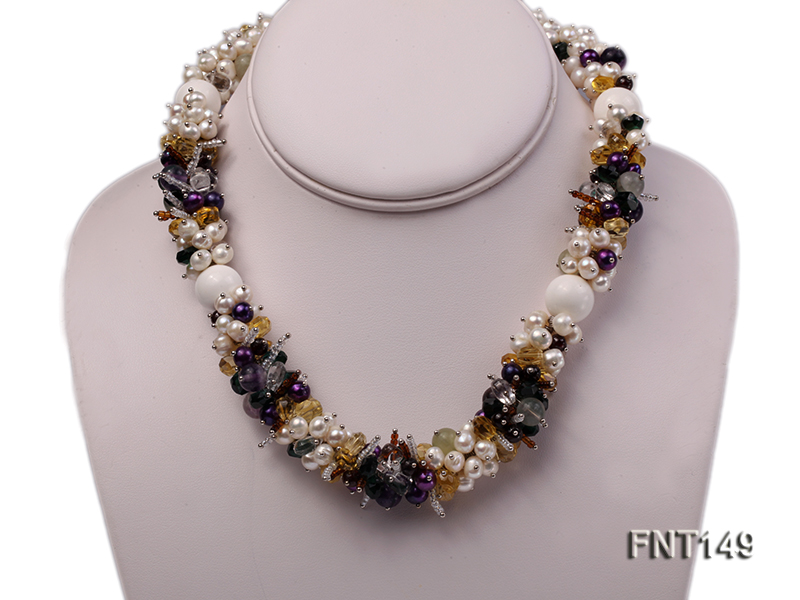 White Freshwater Pearl, Colorful Crystal Beads & Necklace, Bracelet and Earrings Set big Image 2