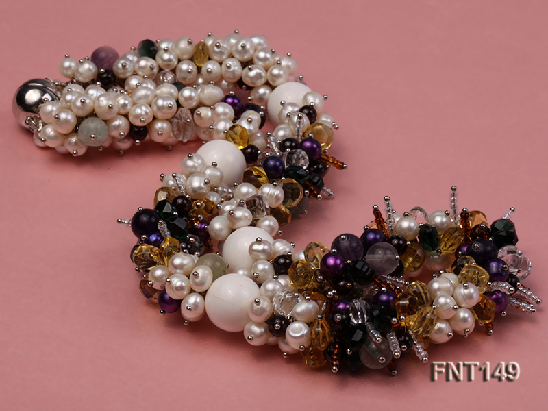 White Freshwater Pearl, Colorful Crystal Beads & Necklace, Bracelet and Earrings Set big Image 5