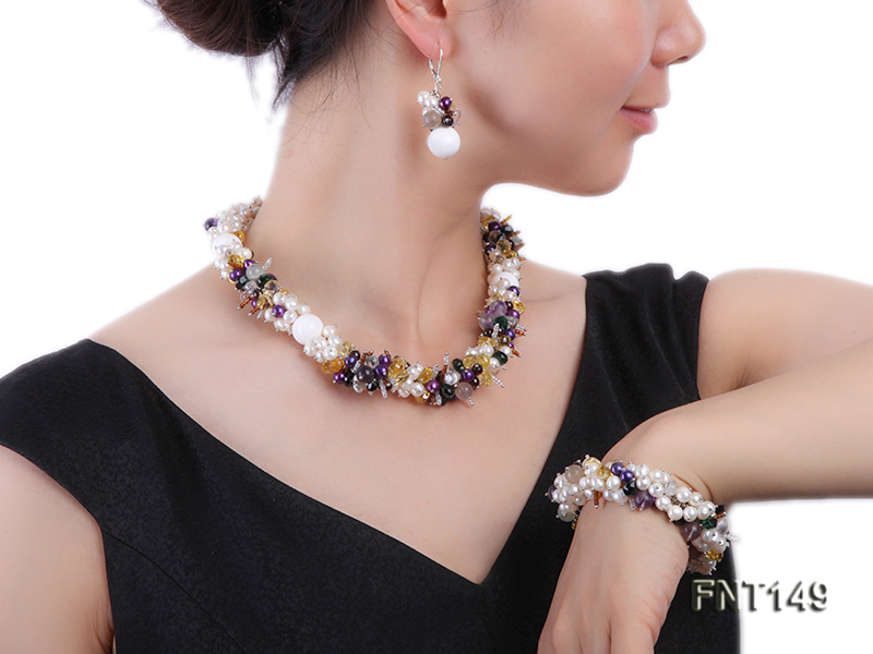 White Freshwater Pearl, Colorful Crystal Beads & Necklace, Bracelet and Earrings Set big Image 1