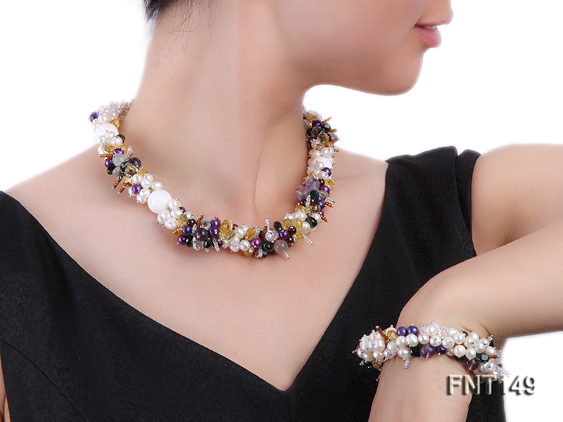 White Freshwater Pearl, Colorful Crystal Beads & Necklace, Bracelet and Earrings Set big Image 7