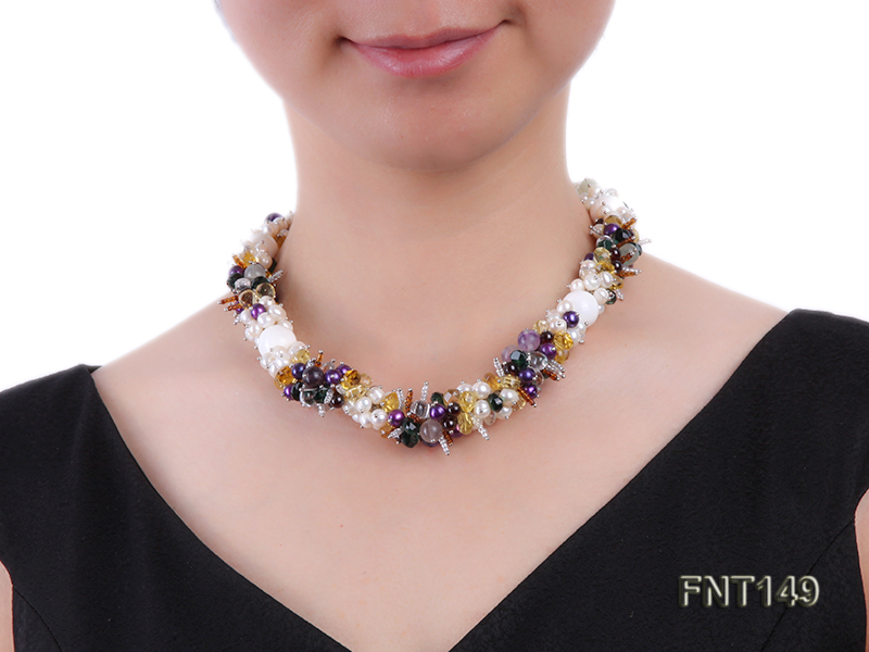 White Freshwater Pearl, Colorful Crystal Beads & Necklace, Bracelet and Earrings Set big Image 8