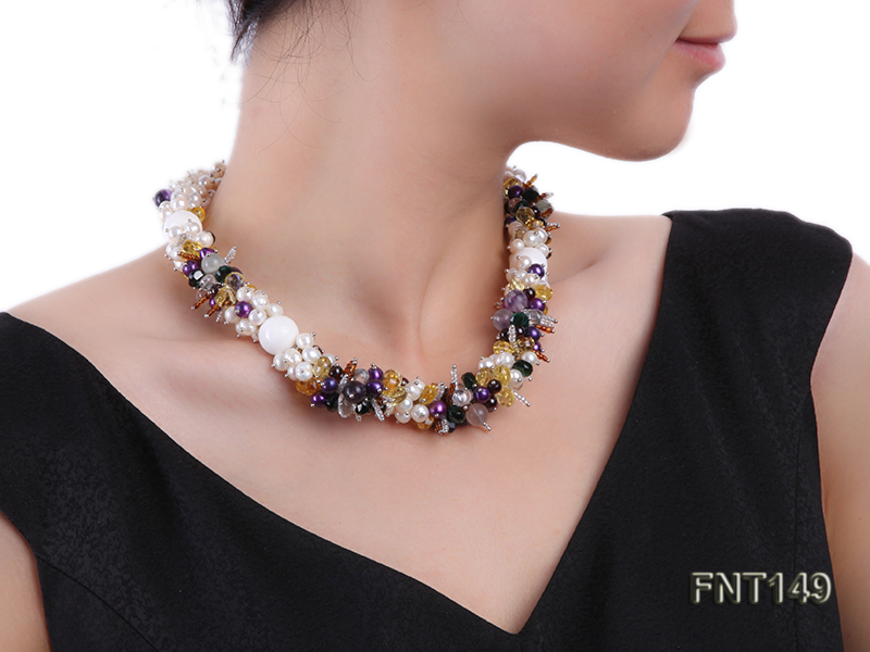 White Freshwater Pearl, Colorful Crystal Beads & Necklace, Bracelet and Earrings Set big Image 9