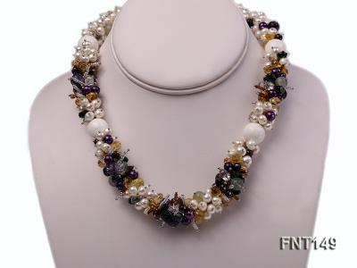 White Freshwater Pearl, Colorful Crystal Beads & Necklace, Bracelet and Earrings Set FNT149 Image 2