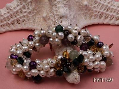 White Freshwater Pearl, Colorful Crystal Beads & Necklace, Bracelet and Earrings Set FNT149 Image 4