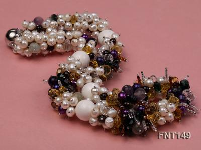 White Freshwater Pearl, Colorful Crystal Beads & Necklace, Bracelet and Earrings Set FNT149 Image 5