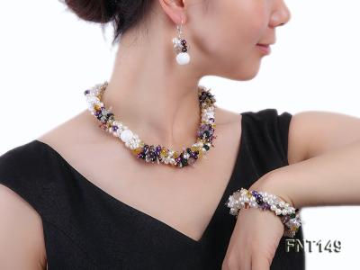 White Freshwater Pearl, Colorful Crystal Beads & Necklace, Bracelet and Earrings Set FNT149 Image 1