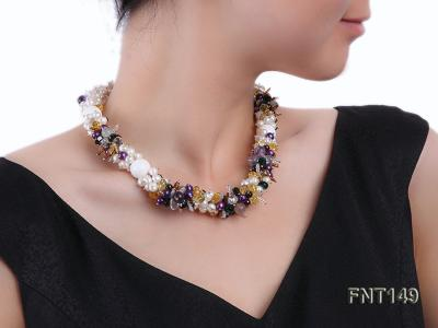 White Freshwater Pearl, Colorful Crystal Beads & Necklace, Bracelet and Earrings Set FNT149 Image 9