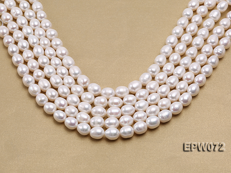 Wholesale 10x12.5mm Classic White Rice-shaped Freshwater Pearl String big Image 2