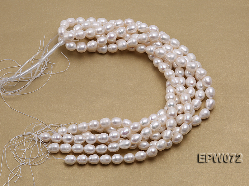 Wholesale 10x12.5mm Classic White Rice-shaped Freshwater Pearl String big Image 4