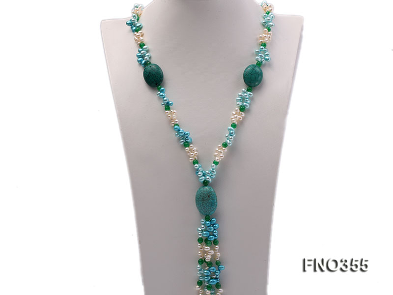6x8mm blue irregular turquoise and malay jade and white rice shape and coin pearl opera necklace big Image 2