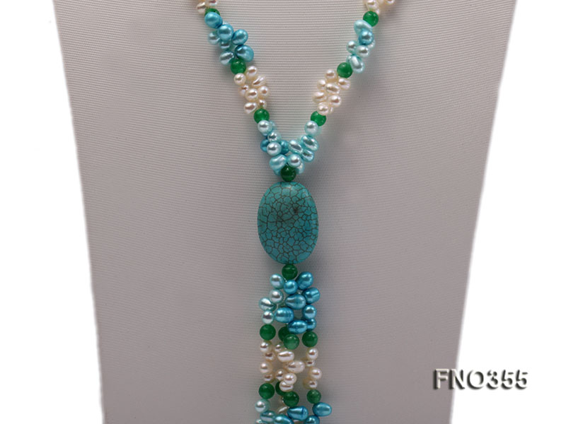 6x8mm blue irregular turquoise and malay jade and white rice shape and coin pearl opera necklace big Image 3