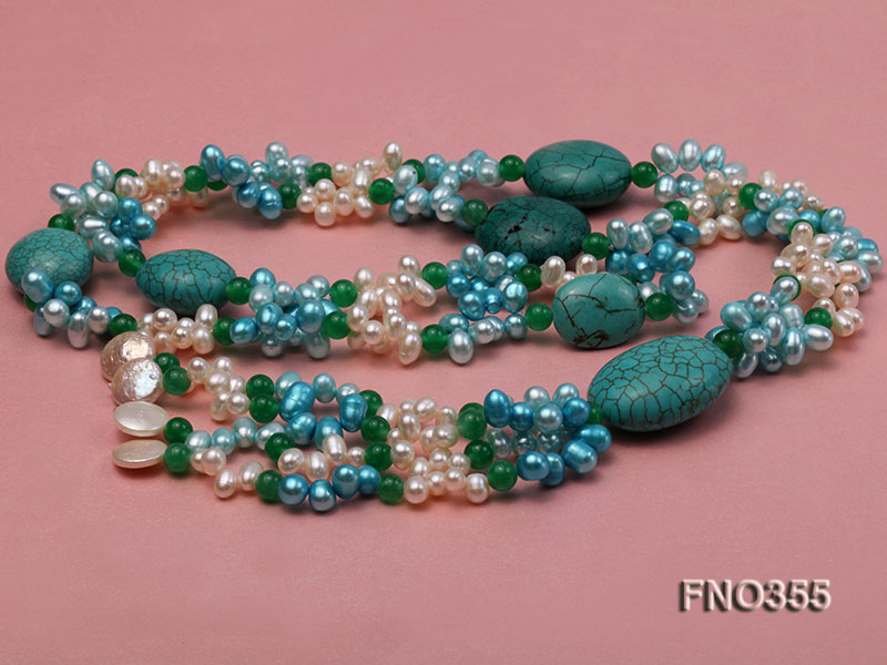 6x8mm blue irregular turquoise and malay jade and white rice shape and coin pearl opera necklace big Image 4