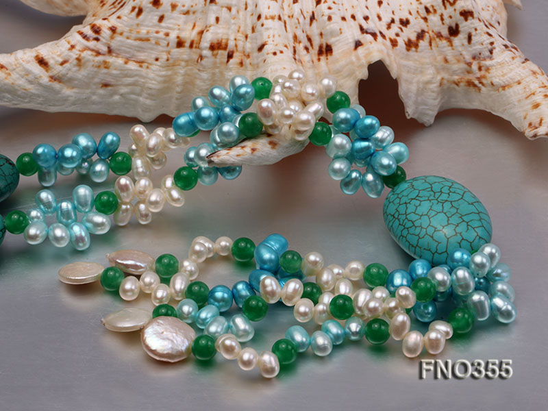 6x8mm blue irregular turquoise and malay jade and white rice shape and coin pearl opera necklace big Image 5