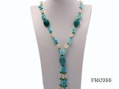 6x8mm blue irregular turquoise and malay jade and white rice shape and coin pearl opera necklace FNO355 Image 2