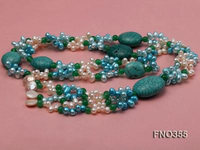 6x8mm blue irregular turquoise and malay jade and white rice shape and coin pearl opera necklace FNO355 Image 4