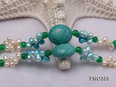 6x8mm blue irregular turquoise and malay jade and white rice shape and coin pearl opera necklace FNO355 Image 6