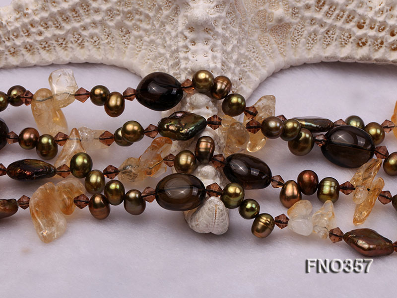 6x8mm pewter rice shape freshwater pearl and irregular crystal and agate necklace big Image 4