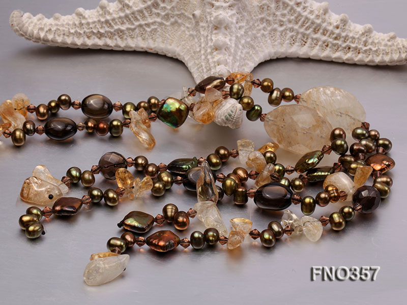 6x8mm pewter rice shape freshwater pearl and irregular crystal and agate necklace big Image 5
