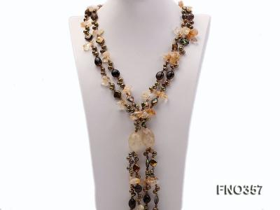 6x8mm pewter rice shape freshwater pearl and irregular crystal and agate necklace FNO357 Image 1