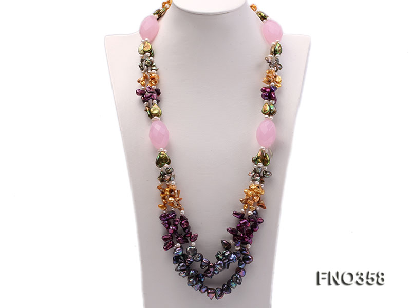 8x11mm multicolor irregular freshwater pearl and pink faceted rose quratz necklace big Image 2