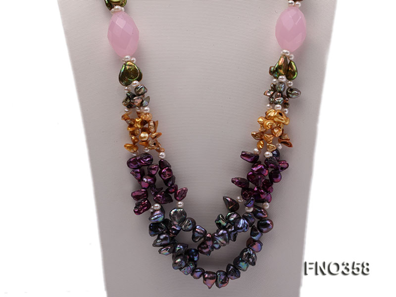 8x11mm multicolor irregular freshwater pearl and pink faceted rose quratz necklace big Image 3