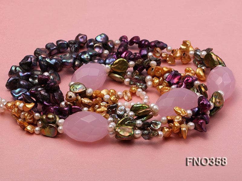 8x11mm multicolor irregular freshwater pearl and pink faceted rose quratz necklace big Image 4