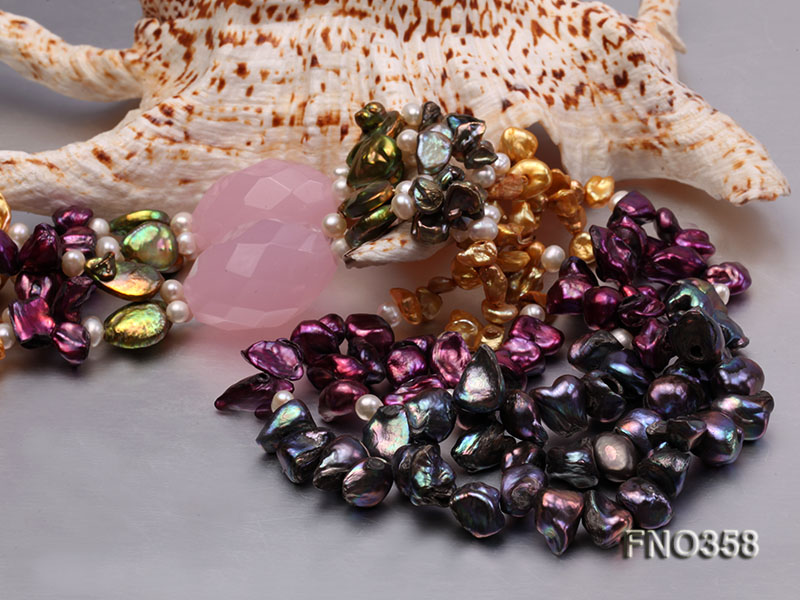 8x11mm multicolor irregular freshwater pearl and pink faceted rose quratz necklace big Image 6