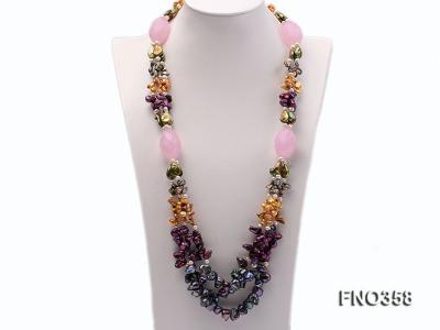 8x11mm multicolor irregular freshwater pearl and pink faceted rose quratz necklace FNO358 Image 2