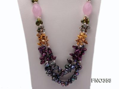 8x11mm multicolor irregular freshwater pearl and pink faceted rose quratz necklace FNO358 Image 3