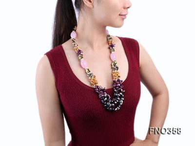 8x11mm multicolor irregular freshwater pearl and pink faceted rose quratz necklace FNO358 Image 1