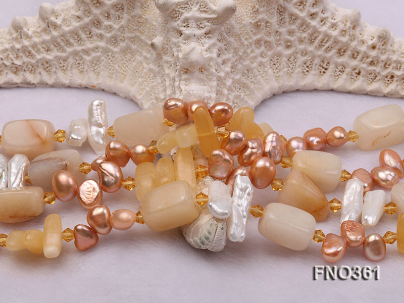8.5x7.5mm yellow flat freshwater pearl and biwa pearl and yellow jade necklace big Image 5
