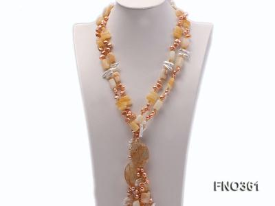 8.5x7.5mm yellow flat freshwater pearl and biwa pearl and yellow jade necklace FNO361 Image 1