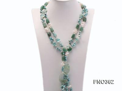 8x11mm white and blue flat freshwater cultured pearl and biwa pearl and yellow jade necklace FNO362 Image 1