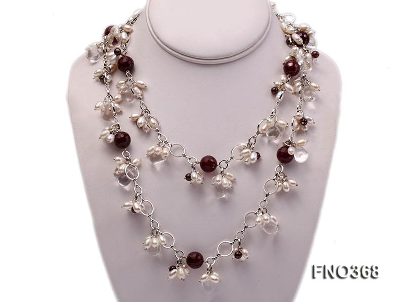 6.5x8.5mm white rice shape freshwater pearl and crystal and red stone necklace big Image 1