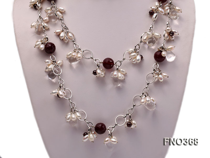 6.5x8.5mm white rice shape freshwater pearl and crystal and red stone necklace big Image 2