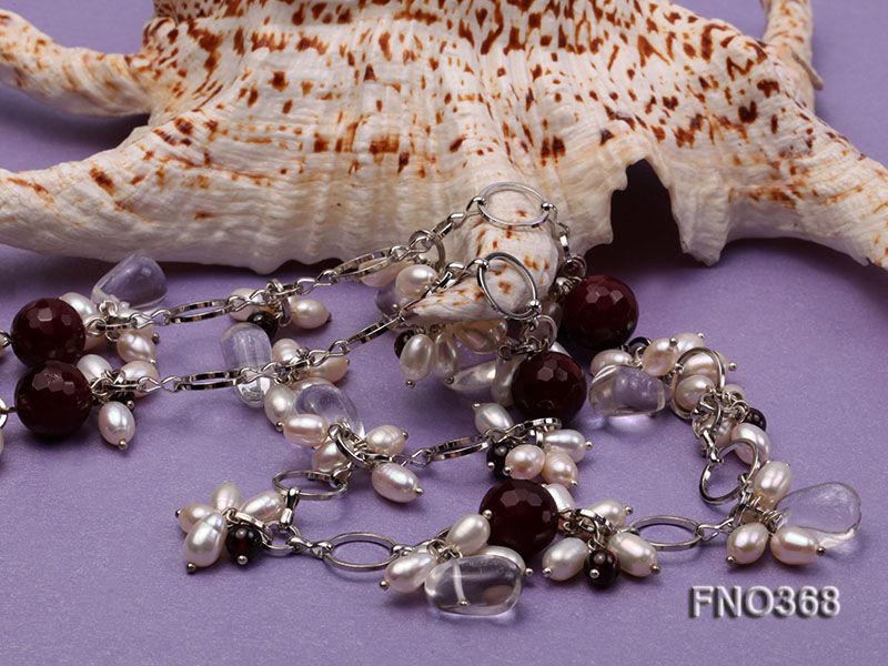 6.5x8.5mm white rice shape freshwater pearl and crystal and red stone necklace big Image 4