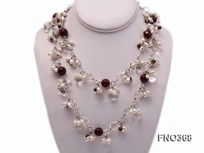 6.5x8.5mm white rice shape freshwater pearl and crystal and red stone necklace FNO368 Image 1