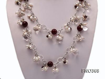 6.5x8.5mm white rice shape freshwater pearl and crystal and red stone necklace FNO368 Image 2
